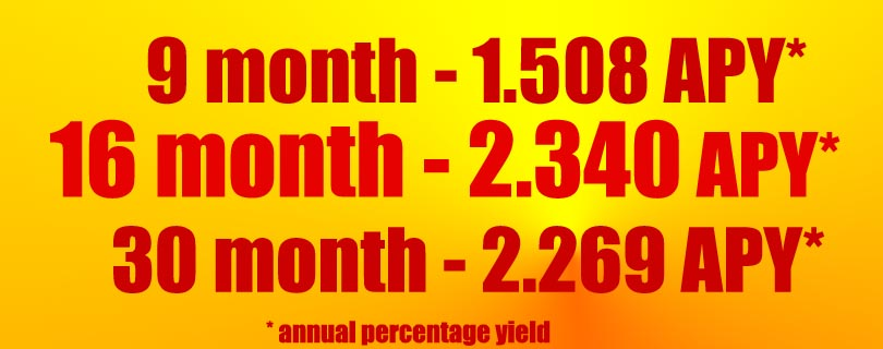 These rates are accurate as of 8/07/18 -Minimum balance of $1,000 required. 9 month CD special-1.508 APY 16 month CD special - 2.340 APY 30 month CD special- 2.269 APY